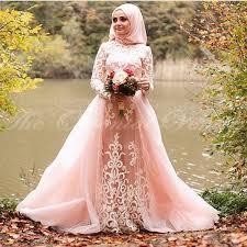 muslim wedding dress blush pink muslim wedding dress with detachable appliques