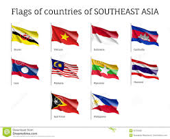 Southeast Asia Flags Waving Flags Of Aec Members Stock Vector Illustration 95753295