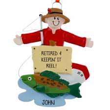 fishing fishermen ornaments personalized