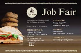 Kitchen Jobs Resume by Specialty U0027s Cafe Job Fair United Way Bay Area