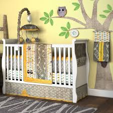Grey And Yellow Crib Bedding Enchanting Owl Nursery Decor Owl Crib Bedding White Solid Wood