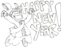new year u0027s coloring page man celebrating the new year by jumping