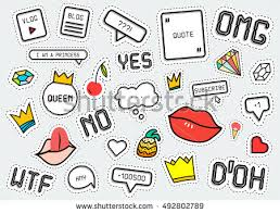 patch fashion collection popular phrases omg stock vector