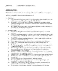 Sample Resume For Occupational Therapist by Sample Occupational Therapist Job Description 11 Examples In