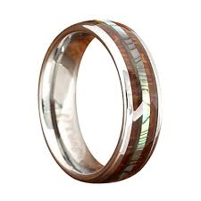 koa wedding bands 6mm tungsten koa wood ring with real abalone center northernroyal