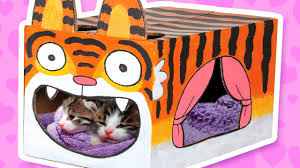 cardboard tiger cat house crafts ideas with boxes diy on