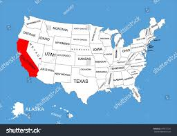 california map in usa united states map california stock vector california state usa