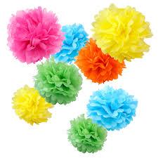 Pom Pom Decorations Assorted Tropical Paper Tissue Pom Poms Set Of 8 Color Pack Small