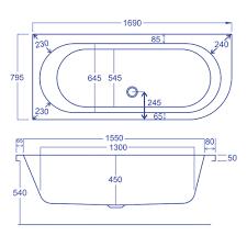 carron status 5mm acrylic lh offset corner bath 1700 x 800mm