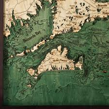 cape cod wood map large 3d nautical topographic chart framed art
