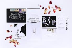 backyard black tie wedding invitations