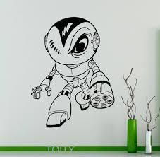 Home Interior Kids Robot Ninja Wall Vinyl Decal Cyber Warrior Sticker Cartoons Home