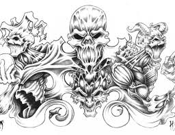 latest smoking skull and flaming dice tattoo design photos