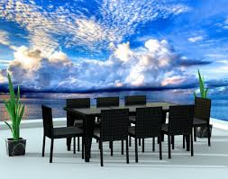 9 Piece Patio Dining Set - 9 piece wicker outdoor patio dining set black wicker charcoal