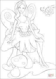 fairy barbie sitting mushroom coloring free