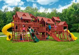 Wooden Swing Set Canopy by Furniture Gorilla Playsets Mountaineer Deluxe Wooden Swing Set