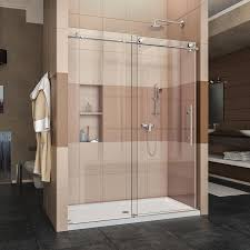 shower shower doors and shower stalls at lowe s dreamline enigma x 56 in to 60 in w frameless polished stainless steel