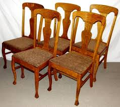 set 5 1900 u0027s 1 4 sawn oak dining chairs w claw feet southwest