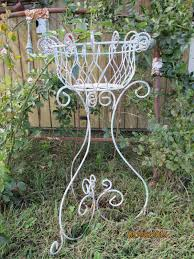 vintage shabby rustic wrought iron metal plant stand french