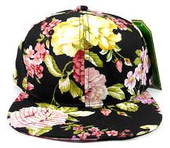 wholesale blank floral snapback hats orange flower print black