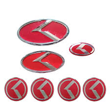 kia logo red k flight logo sticker set hood trunk wheel cap horn badge