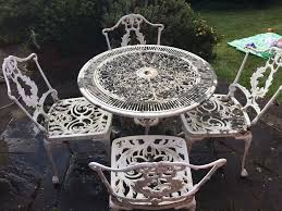 Metal Garden Table White Metal Garden Table And Chairs In Banstead Surrey Gumtree