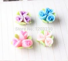 handicrafts for home decoration handmade fimo clay connected three with leaves flowers 18mm