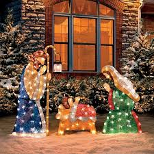 amazon com set of 3 shimmering holy family nativity outdoor pre