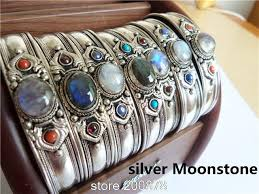 silver bead bangle bracelet images Traditional tibetan silver natural stone bead bangle bracelet jpg