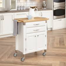 interior narrow wooden butcher block top serving kitchen island