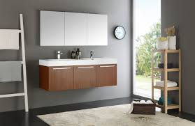 mezzo 60 inch teak wall mounted double sink modern bathroom vanity