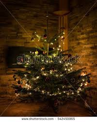 paschal candle poinsettia lit christmas tree stock photo 5303776