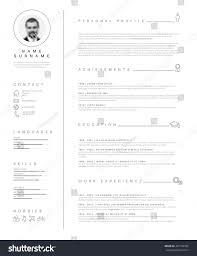 cv resume samples vector minimalist cv resume template nice stock vector 431749330 vector minimalist cv resume template with nice typogrgaphy design