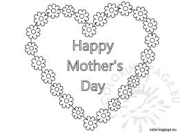 coloring pages mothers day flowers happy mother s day heart and flowers coloring page