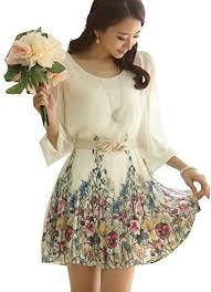 women u0027s chiffon floral 3 4 sleeve summer beach sundress casual