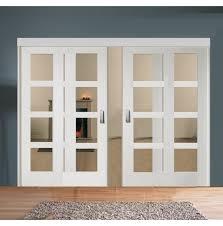 sliding room divider with white shaker clear glazed doors door