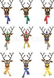 vector set christmas with funny reindeer stock vector colourbox