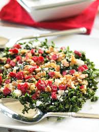 chopped kale salad with cranberries feta and walnuts happy