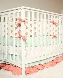 crib bedding set gold coral mint nursery gold hearts