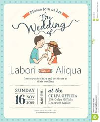 Free Wedding Invitation Card Wedding Invitation Card Template With Cute Groom And Bride Stock