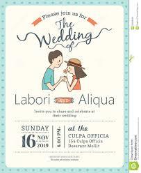 Marriage Invitation Card Templates Wedding Invitation Card Template With Cute Groom And Bride Stock