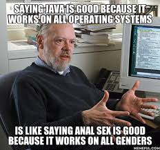 It Works Meme - undefined choosing java because it works on all platforms is the