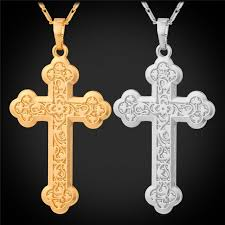 wholesale cross necklace images Wholesale unisex latin cross necklace for women men jewelry 18k jpg