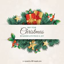 christmas greeting card with garlands vector premium download