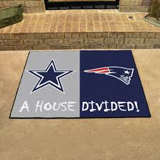 Football Area Rugs by Dallas Cowboys U0026 New England Patriots House Divided Floor Mat Area Rug