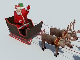 santa sleigh and reindeer santa sleigh reindeer 3d model realtime 3d models world