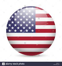 Design Of American Flag Flag Of Usa As Round Glossy Icon Button With American Flag Stock