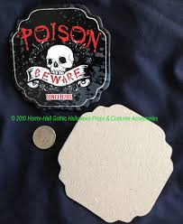 halloween prop building supplies gothic poison beware skull coasters party drink decoration set