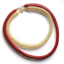 red gold necklace images Layered necklace wire crochet necklace red gold modern necklace jpg
