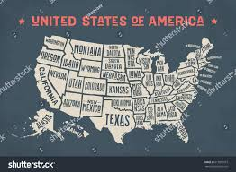 Map Of United States Of America by Poster Map United States America State Stock Illustration